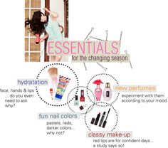"""""""Beauty Essentials for the change of seasons"""" by freddarling ❤ liked on Polyvore"""