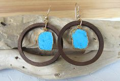 Fabulous Turquoise & Wood Hoop Earrings, Wood Hoop Earrings,Dangle Earrings,Walnut Hoop Earrings,Gold Filled Earrings,Turquoise Slice Earrings, Drop by giveitengraved on Etsy
