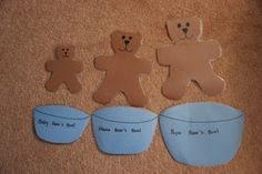 B is for Bears (big, medium, and small)  Take this idea, create a large board or 3 boxes and cut out other shapes in S M L and have the girls sort them!!