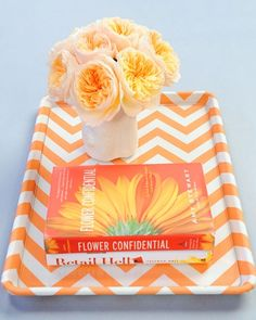 old tray given new life with painted chevron- Shoebox Décor