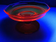 Vintage Manganese Glass Compote Glows Red Uranium Glass Candy Dish | eBay