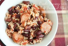 Creole sausage with rice and beans...this was so yummy! I used mild rotel and that gave it a pretty good kick!
