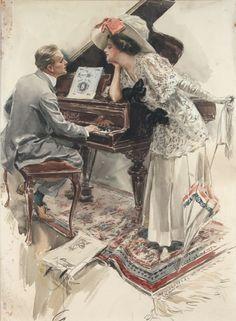 by Harrison Fisher Ladies love musicians Vintage Ephemera, Vintage Cards, Vintage Postcards, Vintage Images, Piano Art, Vintage Couples, Vintage Ladies, Vintage Romance, Victorian Art