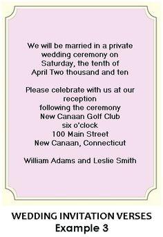 Wording for Wedding Reception Invitations