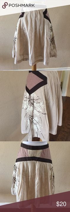 "HOST PICK Floreat Anthro embroidered skirt Gently used. Measurements: waist 26"" length 21.5"" Anthropologie Skirts"