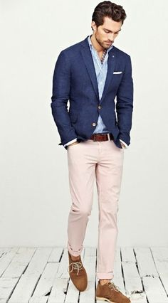 Shop this look — Navy Blazer — White and Blue Vertical Striped Longsleeve Shirt — Brown Suede Derby Shoes — Brown Leather Belt — A Hint of Pink Chinos — White Pocket Square. Mode Masculine, Casual Wedding Outfit Mens, Guys Wedding Outfits, Casual Groom Outfit, Relaxed Outfit, Costume En Lin, Costume Blanc, Terno Slim, Pink Chinos