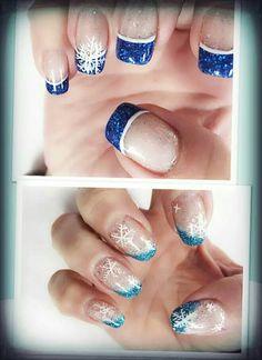 Blue white with snowflakes