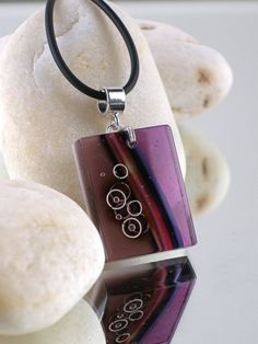 GRAPE SODA - Fused Glass Pendant with Sterling Silver