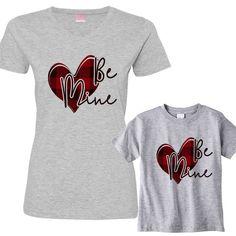 96d0d03743a711 Be Mine Valentine Buffalo Plaid Heart Mom and Children Shirt Set