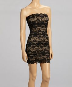 Great price!!  $22.00 .  Bring on the New Year! Take a look at this Black & Cream Lace Strapless Dress by Ruby Rox on #zulily today!