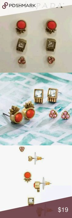 NWT Silpada Color Riot Set of 3 Pairs Earrings Brand new earring 3 pack. Coral, pink and clear stud designs. Brass with Swarovski crystal accents. Silpada Jewelry Earrings
