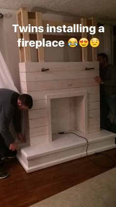 I'm so excited to be sharing our DIY Shiplap Fireplace with you guys today! - I'm so excited to be sharing our DIY Shiplap Fireplace with you guys today! This project was a be - Installing A Fireplace, Build A Fireplace, Fake Fireplace, Shiplap Fireplace, Faux Shiplap, Farmhouse Fireplace, Fireplace Inserts, Fireplace Remodel, Fireplace Surrounds