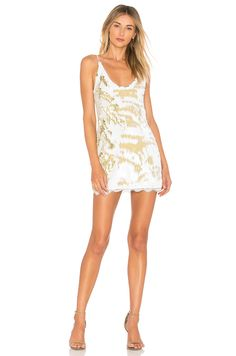 Free People Seeing Double Sequin Slip Dress in Ivory | REVOLVE