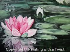 Pink Lotus Flower - Fort Lauderdale, FL Painting Class - Painting with a Twist