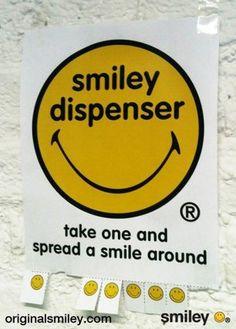 """smiley dispenser"" poster + the ""Take a smile"" movement"