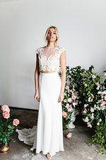 Karen Willis Holmes 'Indy' lace blouse + 'Grace' silk skirt combination wedding dress.   @kwhbridal