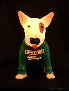 NIce Bud Light Budweiser Spuds MacKenzie Lighted Bar Back Display Bar Beer Sign-Looks LIke Our Pup!
