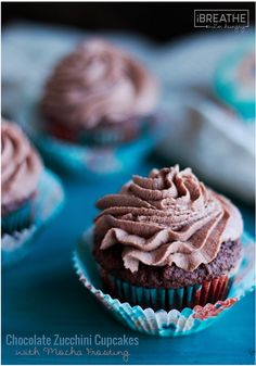 These delicious low carb Chocolate Zucchini Cupcakes with Mocha Frosting are rich and fluffy perfection! Gluten free and Keto friendly too!