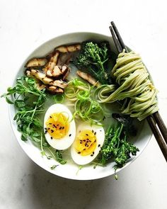 Ginger Miso Soup With Green Tea Soba Noodles, Grilled Shiitake Mushrooms And Broccolini • Sarah
