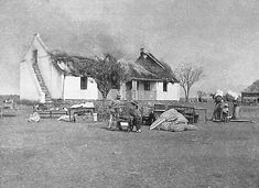 Anglo Boer War - Kitchener's Scorched Earth Policy was a last ditch attempt by the British to win the War. Destroying Boer farms and making women and children destitute victims of war. Cape Colony, Haunting Photos, New York Life, Prisoners Of War, A Day In Life, African History, African Art, Second World, British History