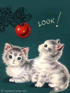 christmas kitty - adorable, until they start destroying the tree! Cat Christmas Cards, Christmas Kitten, Christmas Graphics, Christmas Scenes, Noel Christmas, Christmas Animals, Retro Christmas, Xmas Cards, Christmas Greetings