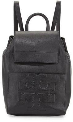 Tory Burch Bombé-T Flap Leather Backpack 361f75c70d