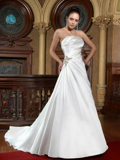 A-Line With Strapless Neckline in Satin Fabric Wedding Dress