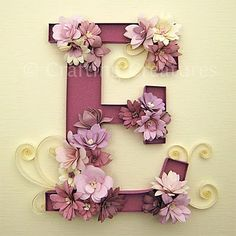 Quilled E Monogram with Fringed Flowers