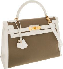 Hermès 32cm White Calf Box Leather & Olive Toile Sellier KellyBag with Gold Hardware