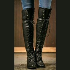 """⚫BLACK LACE UP BOOTS⚫ - NIB ⚫Lace up boots with zipper on the inside for easy on and off  ⚫Rubber sole and comfy footbed  ⚫14 """" calf with elastic band at the top of the boot for movement  Lovelovelove BOTIQUE  Shoes Lace Up Boots"""
