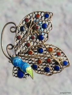 VINTAGE CHINESE CHINA GILT STERLING SILVER FILIGREE CLOISONNE BUTTERFLY PIN