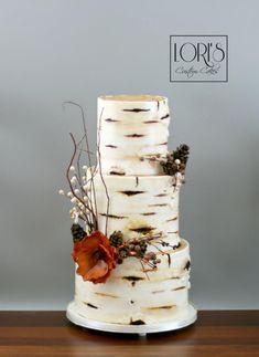 Birch wedding cake by Lori Mahoney (Lori's Custom Cakes) Birch Wedding Cakes, Birch Tree Wedding, Wedding Cake Rustic, Custom Birthday Cakes, Custom Cakes, Rustic Birthday Cake, Birthday Tree, Cake Birthday, Wedding Cake Designs