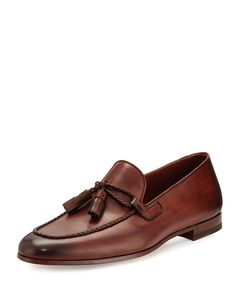 dd4ef2efba1 Magnanni for Neiman Marcus Leather Loafer with Woven Tassels