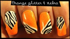 Orange glitter and zebra nail art