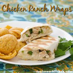 Chicken Ranch Wraps with Tortillas, Cooked Chicken, Ranch Dressing, Shredded Mozzarella Cheese, Chopped Cilantro. Delicious Sandwiches, Delicious Breakfast Recipes, Ranch Chicken Wrap, How To Cook Chicken, Cooked Chicken, Rice And Gravy, Wrap Recipes, Ranch Dressing, Rotisserie Chicken