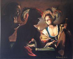 LA RUFFIANA - Omaggio a Gerrit Van Honthorst - Olio su tela 70x50