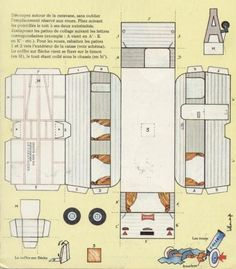 """1973`s Trailer """"Le Caravanier"""" - by Digue Dingue Dong -          An easy-to-build paper model of a French trailer. I don`t know the scale, but, as you see, it is in just one page. From funny name French site Digue Dingue Dong."""