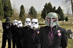 Stormtrooper, Vader, and Boba Fett groomsmen - I would let this happen, but just for a picture ;)