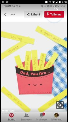 Father's Day Fry Box ⋆ Handmade Charlotte Give dad a box full of french fry l. Father's Day Fry Box ⋆ Handmade Charlotte Give dad a box full of french fry love with this printable Father's Day c Fathers Day Cards Handmade, Kids Fathers Day Crafts, Fathers Day Art, Happy Fathers Day, Fathers Day Gifts, Gifts For Kids, Grandparent Gifts, Diy Father's Day Gifts Easy, Father's Day Diy