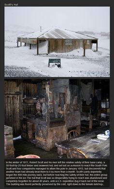 Robert Scott's hut (South Pole explorer) Forgotten for 40 year now dug out of the snow
