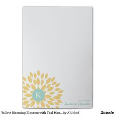 Yellow Blooming Blossom with Teal Monogram Personalized Post-it® Sticky Notes