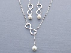 Infinity Necklace and Infinity Earrings Set by LeCharmeJewelry, $34.00