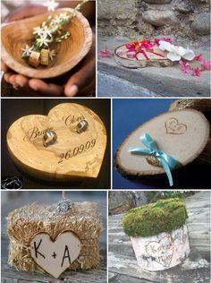 Porte alliance mariage rondin de bois th me mariage pinterest mariage - Support alliances mariage ...