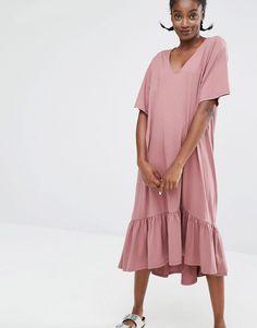 Image 1 ofMonki Exclusive Ruffle Hem Midi Dress