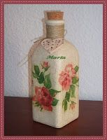 Botella con decoupage