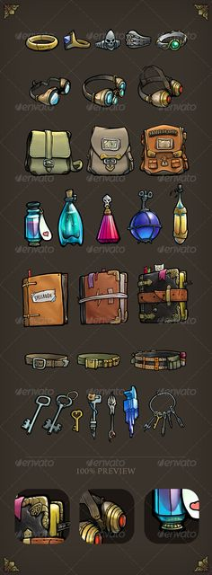 Game Item Pack  #GraphicRiver         - 29 items included  - Transparent PNG for each item and single layered PSD  - Mobile game inventory stuff (rings, eyeglasses, bags, bottles, spellbooks,  belts and keys)  - Optimizet for iPad Retina display (2048×1536)     Created: 7August13 GraphicsFilesIncluded: PhotoshopPSD #TransparentPNG HighResolution: No Layered: Yes MinimumAdobeCSVersion: CS Tags: bottle #fantasygame #fantasystuff #flask #mobilegame #ring #roleplaynggame #rpg #spellbook