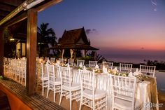 Sunset before the wedding guests sit to have their reception dinner at a private villa in Koh Samui