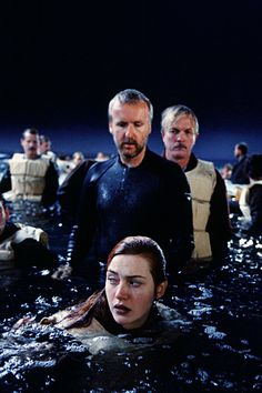 James Cameron and Kate Winslet on the set of Titanic