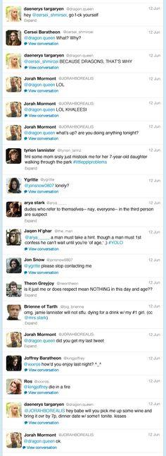 Si los personajes de The Game of Trones tuvieran twitter