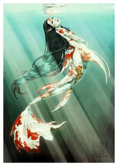 Koi keeping is quickly becoming a very popular hobby in America. Koi are beautiful, vibrant fish that can literally light your day. Koi come in many colors, Mermaid Drawings, Mermaid Art, Mermaid Tails, Mermaid Paintings, Tattoo Mermaid, Vintage Mermaid, Scary Mermaid, Male Mermaid, Anime Mermaid